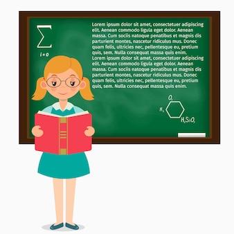 Schoolgirl, em, um, sala aula, ficar, em, a, quadro-negro