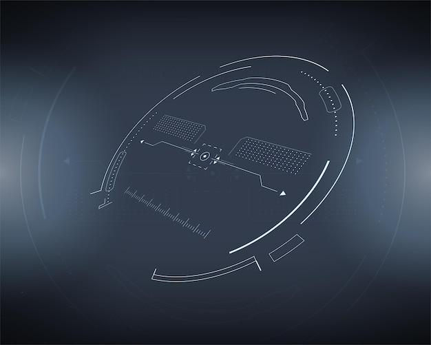 Scifi futuristic vector hud painel de tecnologia de realidade virtual Vetor Premium