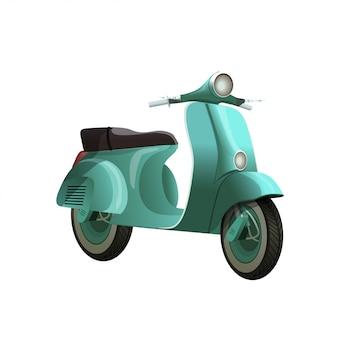 Scooter azul turquesa vintage, isolado no fundo branco