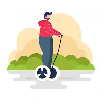 Scooter de equilíbrio de passeio de homem