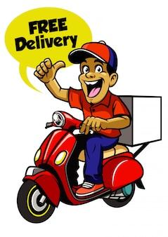 Scooter de equitação de entregador