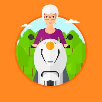 Scooter de equitação de mulher.