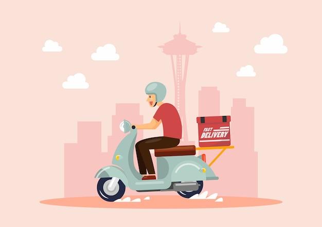 Scooter de passeio menino entrega na cidade grande
