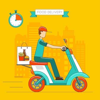 Scooter isolado. ícone de transporte de entrega.