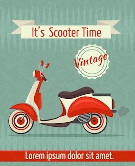 Scooter motor retro vintage transporte cartaz de papel esportivo com ilustração vetorial fita