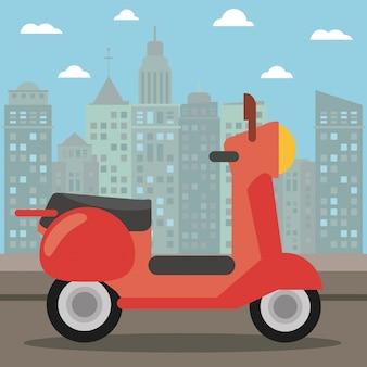 Scooter transportar a noite da cidade
