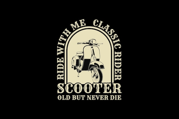 Scooters, design de estilo retro de silhueta.