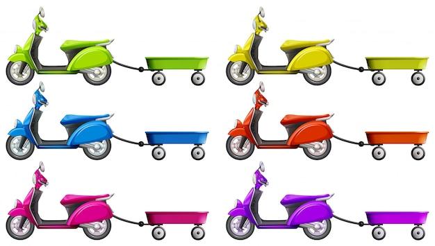 Scooters e vagão em cores diferentes ilustração