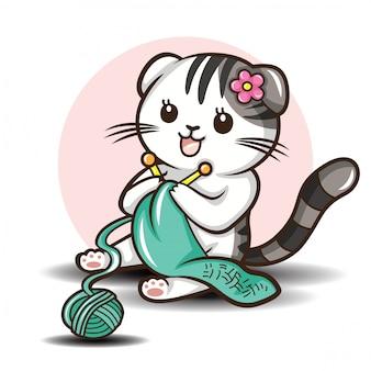 Scottish bonito dobra cat cartoon vetora.