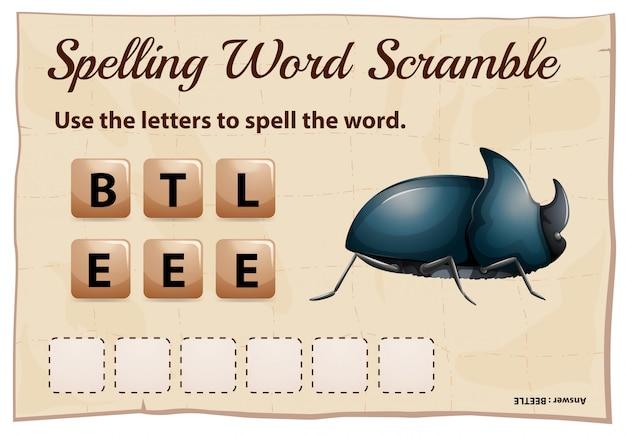 Scramble de ortografia palavra para besouro de palavra