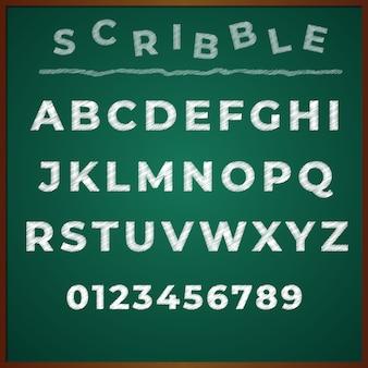 Scribble font alphabet hand desenho vetorial