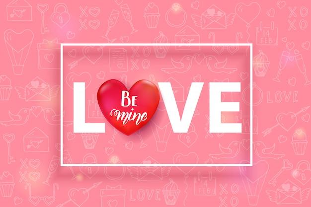 Script de texto de amor com coração vermelho 3d e quadro isolado no padrão