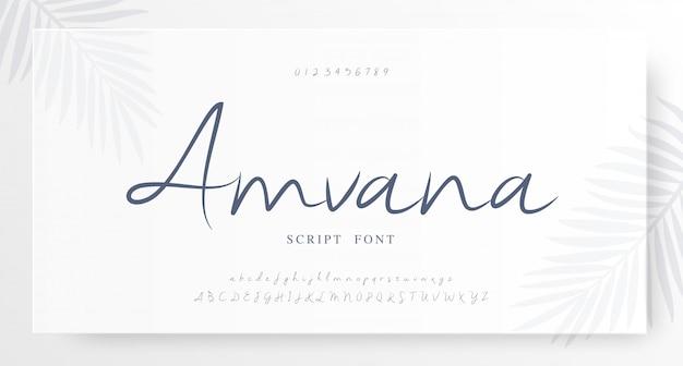 Script elegante número da fonte da letra do alfabeto clássico