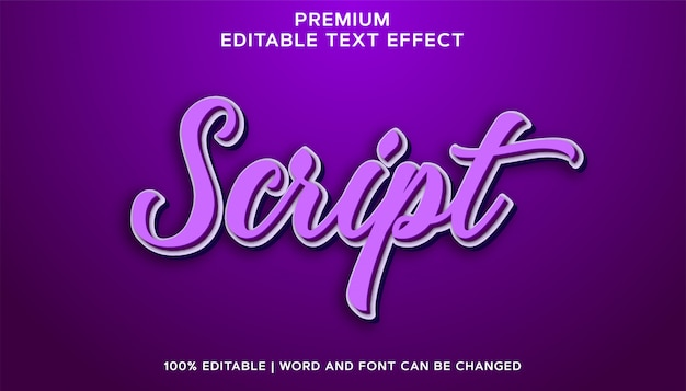 Script roxo - estilo de efeito de texto editável