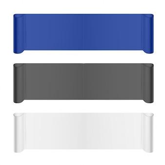 Scroll paper banners em azul, preto e branco