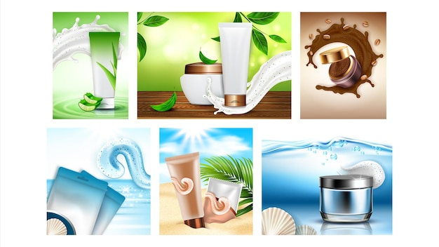 Scrub cosmetics creative promo posters definir vetor. pacotes em branco esfregar com ingredientes naturais sal marinho, aloe vera e coleção de grãos de café anuncie banners. ilustrações de modelo de conceito de estilo