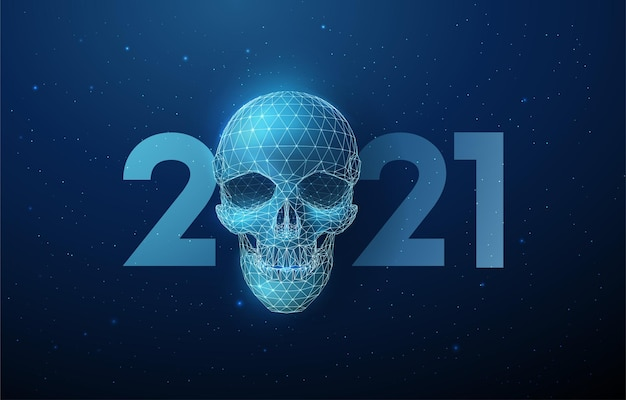 Scull azul abstrato e número 2021 de ano novo, estilo low poly. fundo geométrico abstrato. estrutura de luz em wireframe.