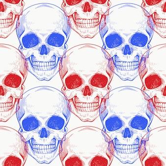 Scull humano cor padrão sem emenda. ilustração de esqueleto desenhada de mão.