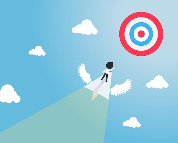 Sd homem de negócios em pé em um avião de papel com asas voar diretamente para o centro do alvo rapidamente