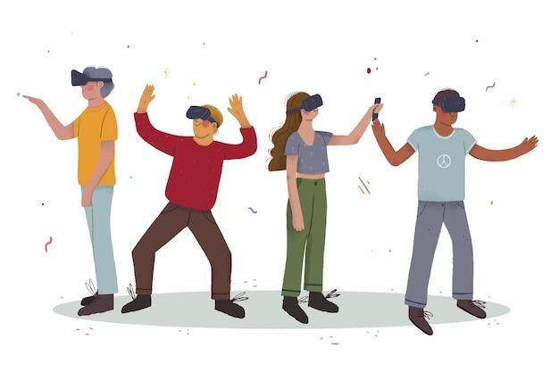 Se divertindo com fone de ouvido de realidade virtual