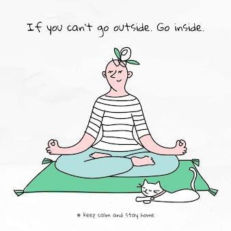 Se você não puder sair, entre no vetor do doodle