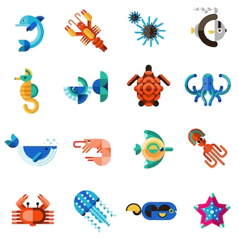 Sea creatures set