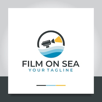 Sea movie logo design câmera sea film