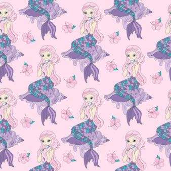 Sea travel seamless pattern ilustração em vetor de cor mermaid