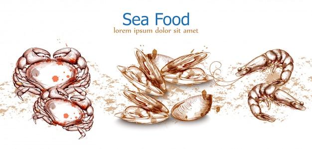 Seafood template caranguejo frutos do mar