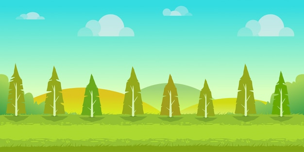Seamles cartoon paisagem da natureza