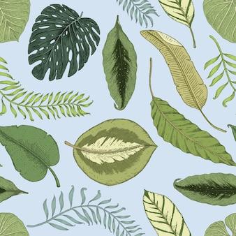 Seamles vintage padrão tropical com folhas, mão desenhada ou gravada. plantas e folhas de aparência vintage
