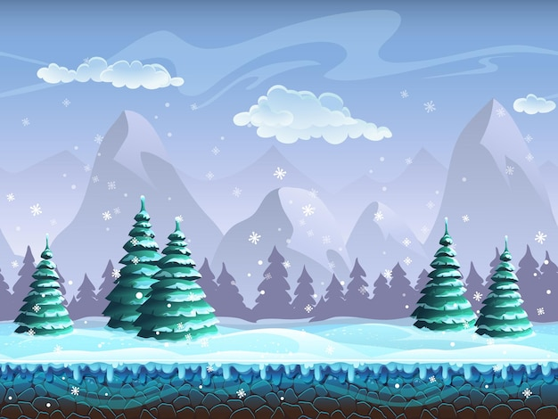Seamless cartoon inverno paisagem gelo infinito, colinas de neve, montanhas, nuvens, céu
