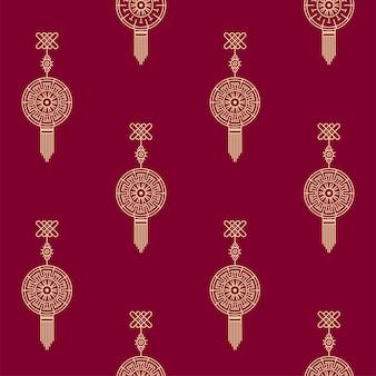 Seamless chinese oriental hang fundo padrão na cor dourada e vermelha.