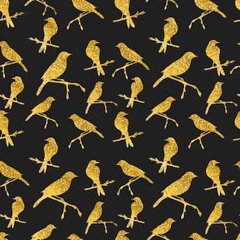 Seamless com pássaros brilhantes de ouro no preto