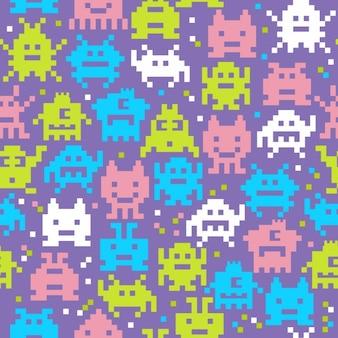 Seamless de monstros pixels amáveis