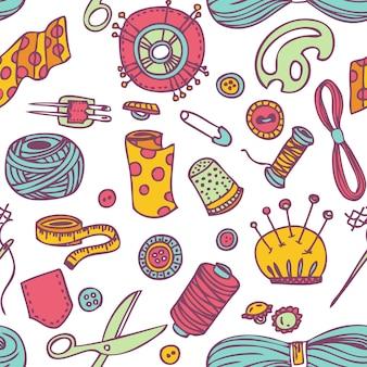 Seamless doodle costura e padrão de borda