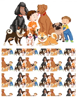 Seamless meninos e cachorros