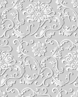 Seamless pattern 3d papel arte jardim botânico espiral cruz folha flor de videira