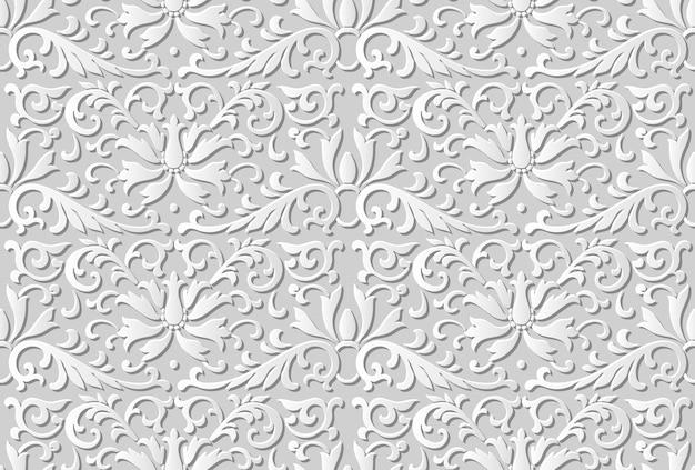 Seamless pattern 3d papel arte jardim botânico flor folha videira