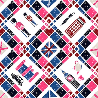 Seamless pattern argyle and english symbols