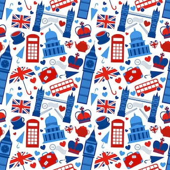 Seamless pattern background with london landmarks e grâ bretanha símbolos ilustração vetorial
