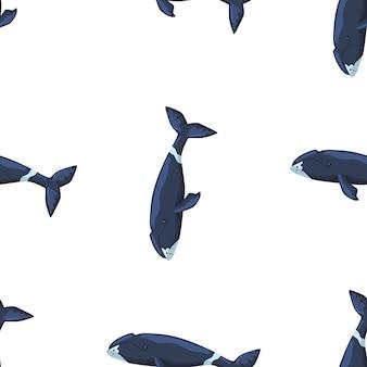 Seamless pattern baleia bowhead em fundo branco. modelo de personagem de desenho animado do oceano para crianças.