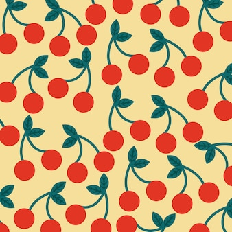 Seamless pattern fruit fresh cherry
