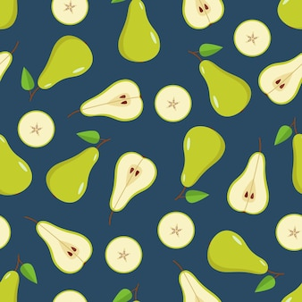 Seamless pattern green pear é inteiro, meia e uma fatia de pêra. ilustração em vetor de peras maduras de frutas suculentas.