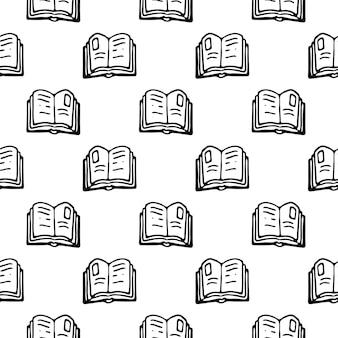 Seamless pattern mão desenhada livro doodle. esboço de volta às aulas, ícone. elemento de decoração. isolado em um fundo branco. ilustração vetorial.