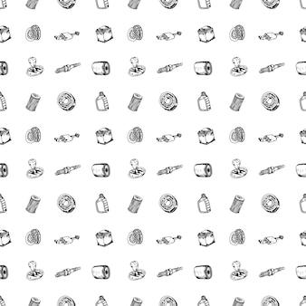 Seamless pattern mão-extraídas conjunto de ilustração vetorial de peças de automóvel sinal e símbolo doodles elementos. isolado em um fundo branco.