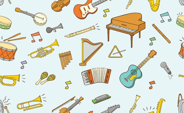 Seamless pattern of doodle musical instrument