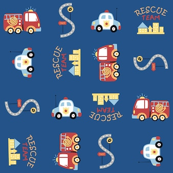 Seamless pattern vector com equipe de resgate cartoon, motor de bombeiros, carro de polícia