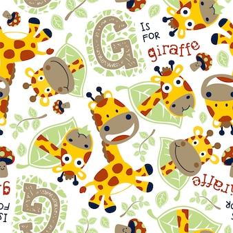 Seamless pattern vector com girafa engraçada