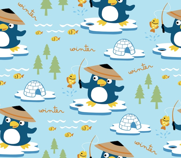 Seamless pattern vector com pólo norte com pinguim cartoon o melhor pescador